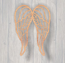 Load image into Gallery viewer, Angel Wings Fretwork.  Wood cutout.  Laser Cutout. Wood Sign. Unfinished wood cutout. Sign blank. Ready to paint. Door Hanger