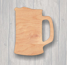 Load image into Gallery viewer, Beer Mug.  Unfinished wood cutout.  Wood cutout. Laser Cutout. Wood Sign. Sign blank. Ready to paint. Door Hanger.