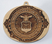 Load image into Gallery viewer, USAF Ornaments Military Ornament wooden ornament Air Force Ornament US Air Force wood ornament USAF Gift United States Air Force