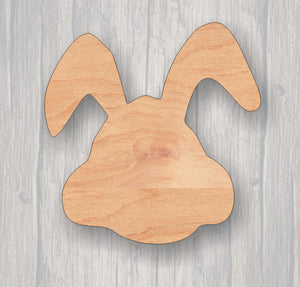 Bunny Face. Unfinished wood cutout.  Wood cutout. Laser Cutout. Wood Sign. Sign blank. Ready to paint. Door Hanger. Easter