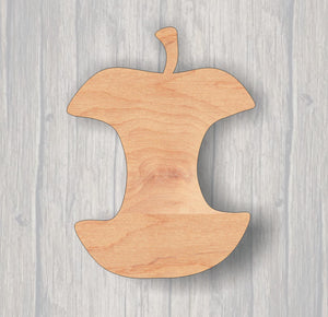Apple Core. Wood cutout.  Laser Cutout. Wood Sign. Unfinished wood cutout. Sign blank. Ready to paint. Door Hanger. fruit cut