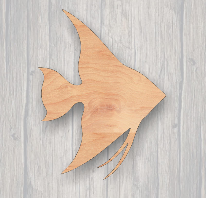 Angelfish. Wood cutout.  Laser Cutout. Wood Sign. Unfinished wood cutout. Sign blank. Ready to paint. Door Hanger. Fish cutout