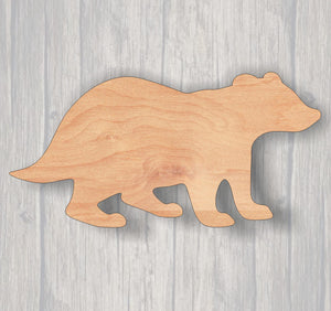 Badger. Wood cutout.  Laser Cutout. Wood Sign. Unfinished wood cutout. Sign blank. Ready to paint. Door Hanger. Wildlife