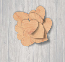 Load image into Gallery viewer, Dozen Hearts. Wood cutout.  Laser Cutout. Wood Sign. Unfinished wood cutout. Sign blank. Ready to paint. 12 pack. Sign accents
