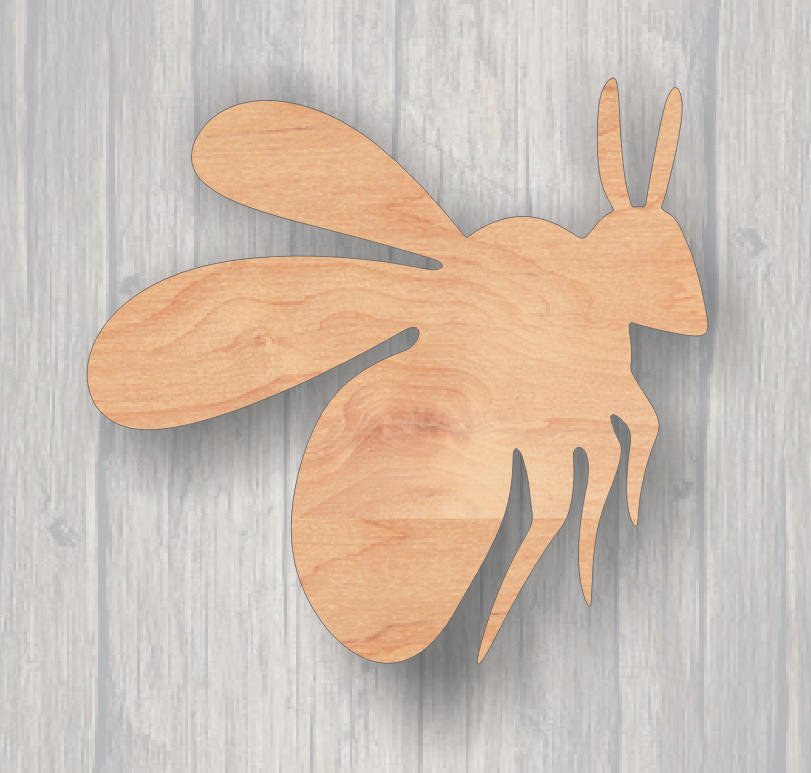 Bumble Bee.  Unfinished wood cutout.  Wood cutout. Laser Cutout. Wood Sign. Sign blank. Ready to paint. Door Hanger.