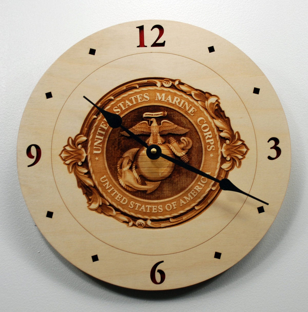 USMC 3D engraved Clock