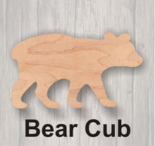 Load image into Gallery viewer, Bear. Wood cutout.  Laser Cutout. Wood Sign. Unfinished wood cutout. Sign blank. Ready to paint. Door Hanger.