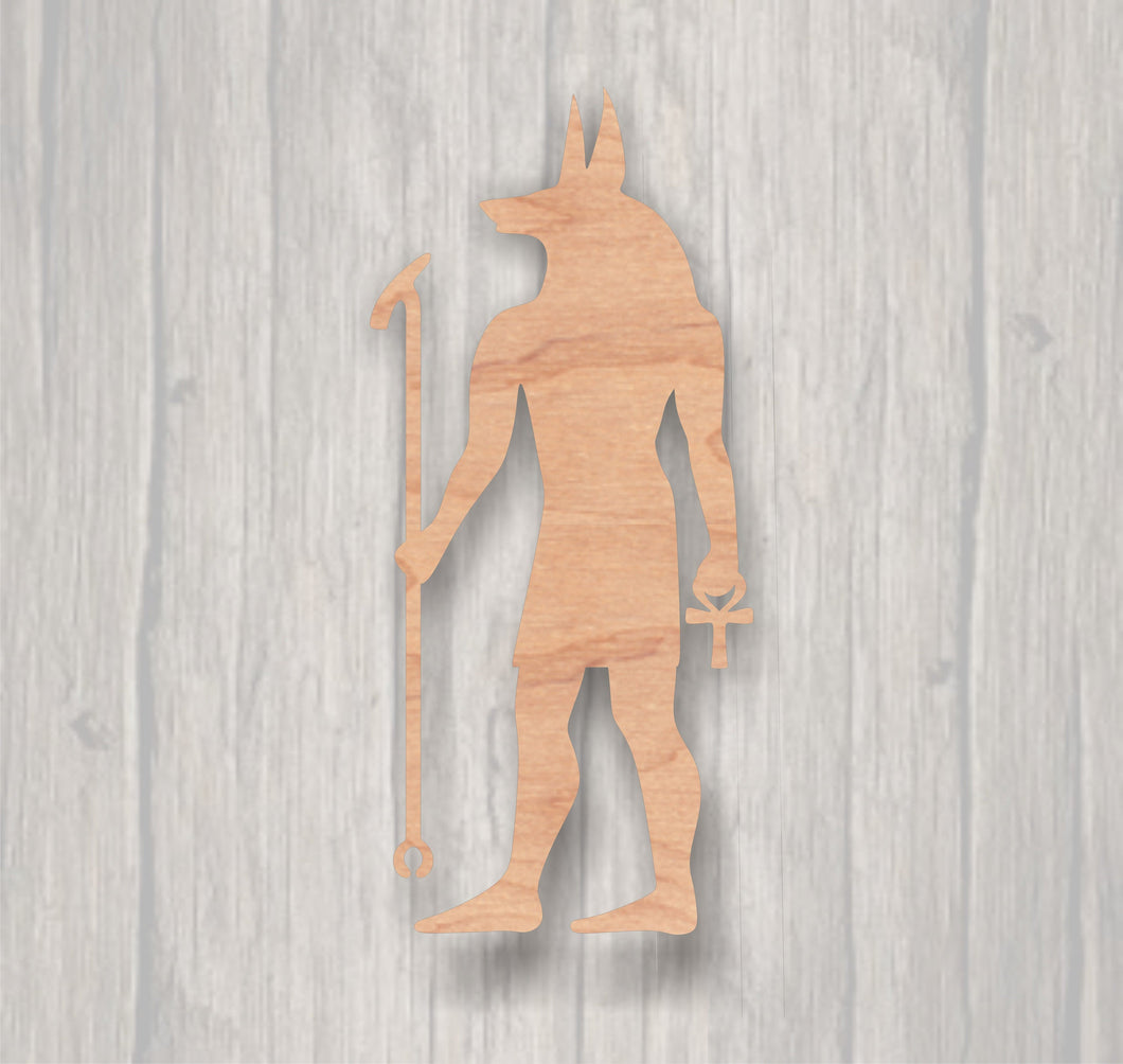 Anubis. Unfinished wood cutout.  Wood cutout. Laser Cutout. Wood Sign. Sign blank. Ready to paint. Door Hanger. Egyptian. God