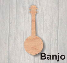 Load image into Gallery viewer, Music Instruments. Unfinished wood cutout.  Wood cutout.  Wood Sign. Door Hanger. Banjo. Bass Guitar. Ukulele. Viola. Violin