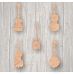 Music Instruments. Unfinished wood cutout.  Wood cutout.  Wood Sign. Door Hanger. Banjo. Bass Guitar. Ukulele. Viola. Violin