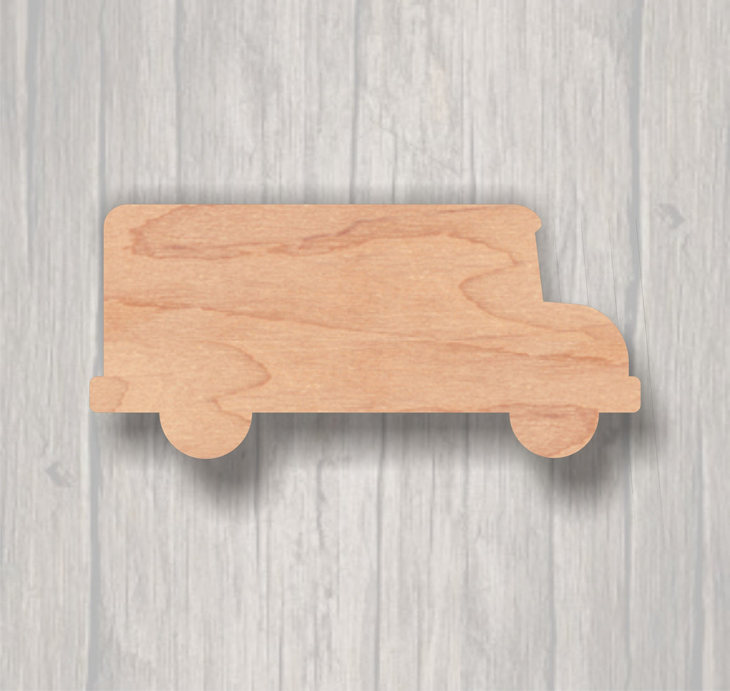 Bus. Unfinished wood cutout.  Wood cutout. Laser Cutout. Wood Sign. Sign blank. Ready to paint. Door Hanger.