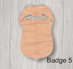 Badges.  Unfinished wood cutout.  Wood cutout. Laser Cutout. Wood Sign. Sign blank. Ready to paint. Door Hanger.