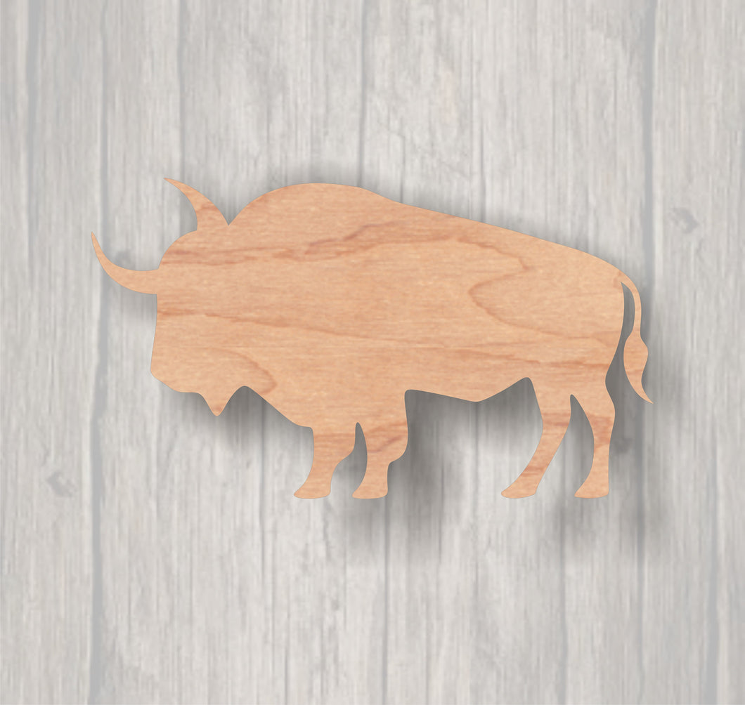 Bison. Unfinished wood cutout.  Wood cutout. Laser Cutout. Wood Sign. Sign blank. Ready to paint. Door Hanger. Wildlife