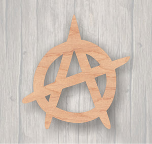 Anarchy Symbol. Unfinished wood cutout.  Wood cutout. Laser Cutout. Wood Sign. Sign blank. Ready to Door Hanger.paint.