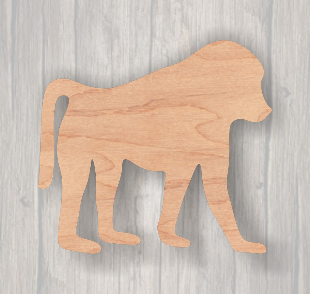 Baboon.  Unfinished wood cutout.  Wood cutout. Laser Cutout. Wood Sign. Sign blank. Ready to paint. Door Hanger.