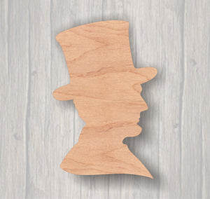 Abraham Lincoln Bust.  Unfinished wood cutout.  Wood cutout. Laser Cutout. Wood Sign. Sign blank. Ready to Door Hanger.paint.