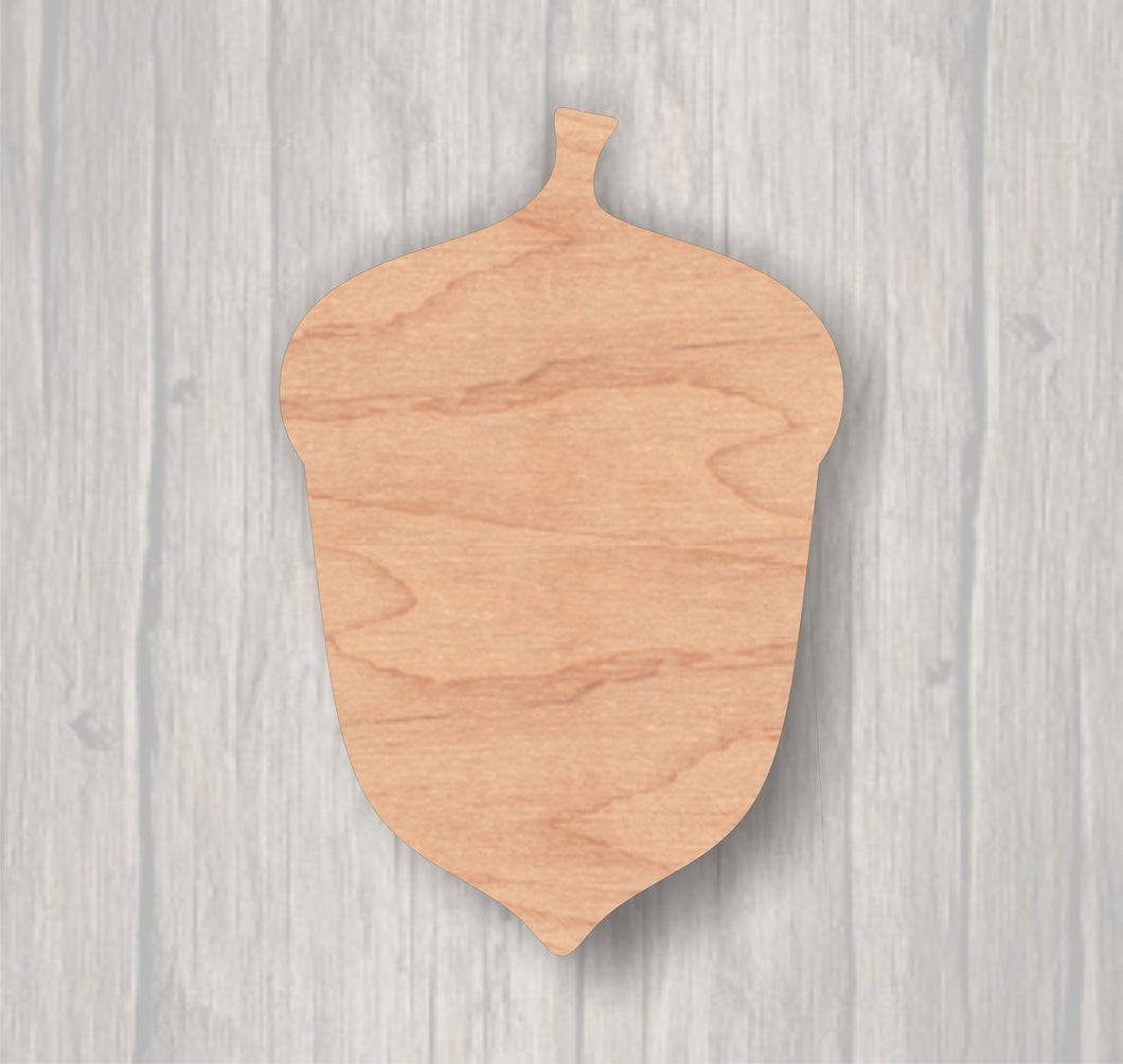 Acorn.  Unfinished wood cutout.  Wood cutout. Laser Cutout. Wood Sign. Sign blank. Ready to Door Hanger.paint.
