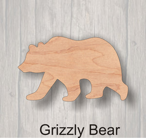 Grizzly Bear.Unfinished wood cutout. Wreath Accent. Wood cutout. Laser Cutout. Wood Sign. Sign blank. Ready to paint. Door Hanger.