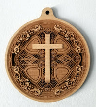 Load image into Gallery viewer, 3D Wood Ornament Chip carved Cross Ornament Wooden Ornament Laser Engraved