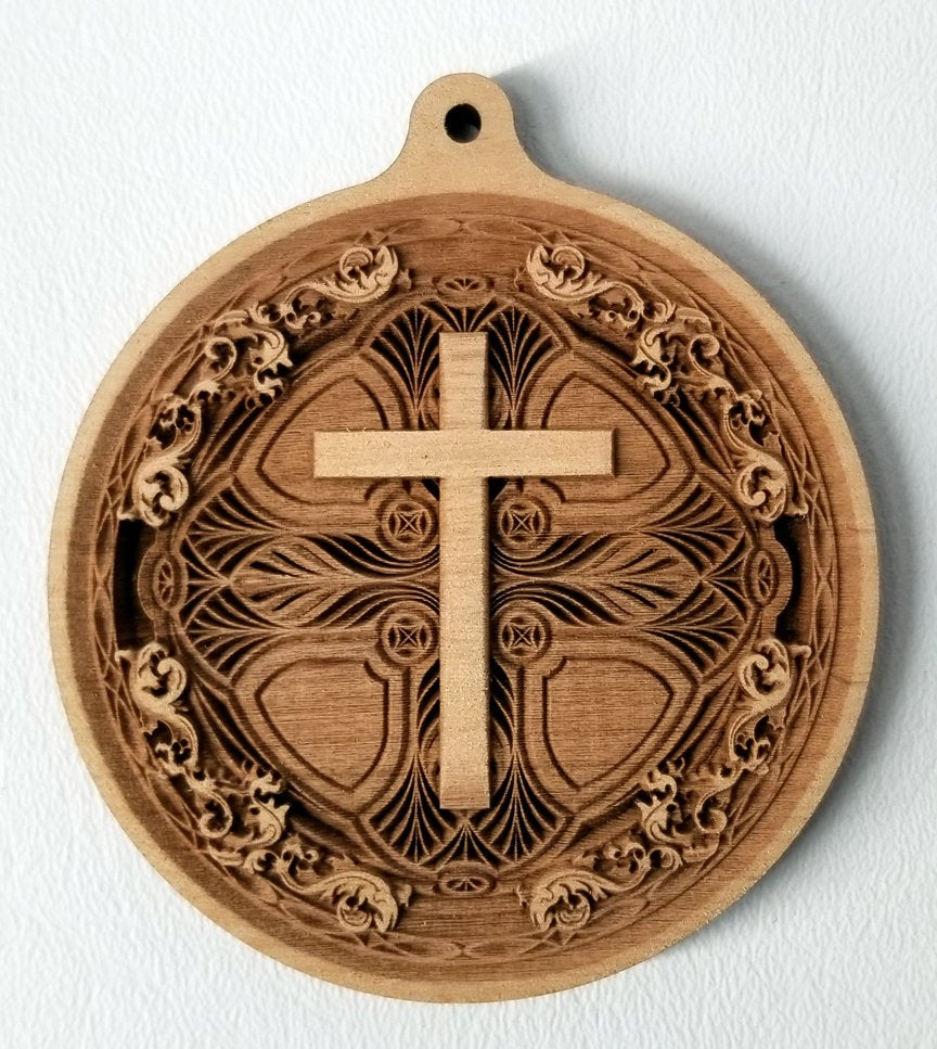 3D Wood Ornament Chip carved Cross Ornament Wooden Ornament Laser Engraved