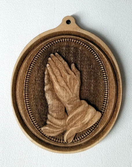 3D Praying hands Ornament Praying Hands Ornament wooden ornament Laser Engraved ornament