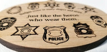 Load image into Gallery viewer, Wooden Ornaments Badge Ornament Laser Engraved First Responder Thin Blue Line Sheriff Badge Deputy Badge Trooper Badge Police badge Detective Badge