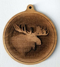Load image into Gallery viewer, 3D Ornaments. Moose Head Ornament. . Laser Engraved.  Unfinished Wood.