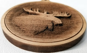 3D Ornaments. Moose Head Ornament. . Laser Engraved.  Unfinished Wood.