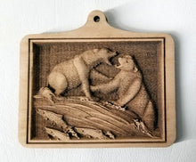 Load image into Gallery viewer, 3D Wooden Ornaments Bears Fighting Ornament Laser Engraved ornament wood ornament