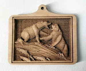 3D Wooden Ornaments Bears Fighting Ornament Laser Engraved ornament wood ornament