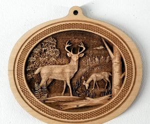 Wooden Ornaments White Tail Deer Ornament 3D Whitetail Deer Ornament Laser Engraved wood ornament