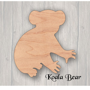 Koala Bear. Unfinished wood cutout.  Wood cutout. Laser Cutout. Wood Sign. Sign blank. Ready to paint. Door Hanger. Wildlife