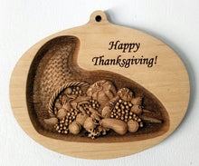 Load image into Gallery viewer, 3D Wooden Thanksgiving Ornament Cornucopia Ornament Thanksgiving engraving