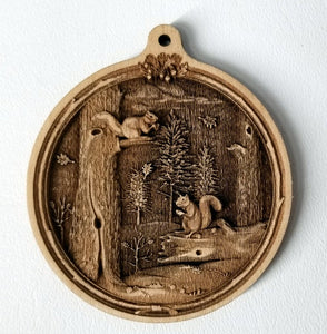 3D Wooden Squirrels Ornament Squirrels Laser Engraved squirrel
