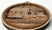 Load image into Gallery viewer, 3D Wooden Barn Ornament Hay Barn Laser Engraved wood ornament