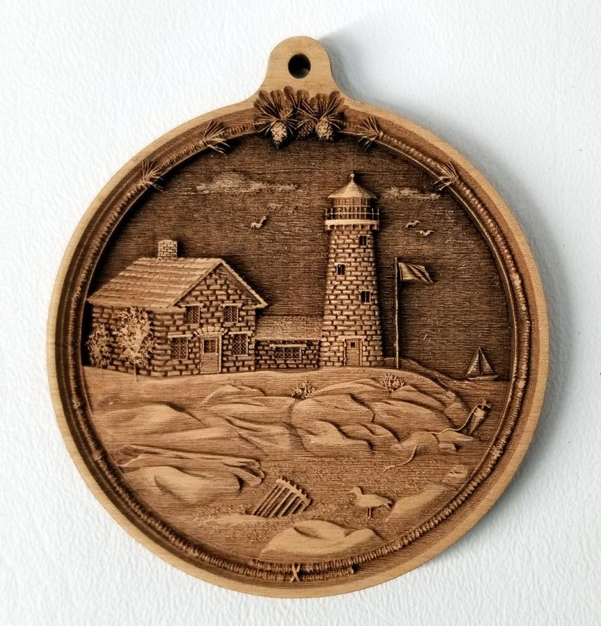 Cape Cod Lighthouse Ornament Wooden Ornament Cape Cod Ornament Laser Engraved
