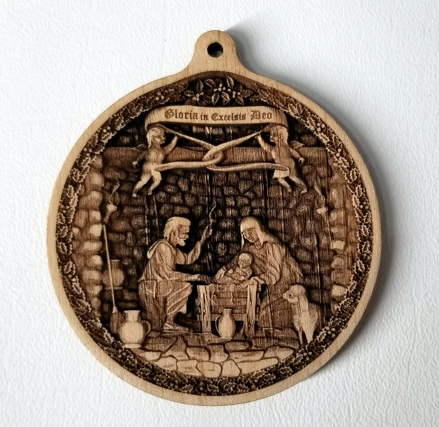 3D Wooden Nativity Ornament Nativity Creche ornament Laser Engraved