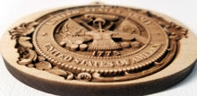Load image into Gallery viewer, 3D wooden Ornaments. Army Insignia Ornament Wood US Army Crest Laser Engraved Laser Cut Army ornament