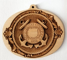Load image into Gallery viewer, 3D wood Ornaments. Coast Guard ornament USCG Ornament wooden ornament