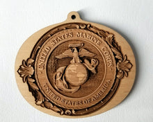 Load image into Gallery viewer, Wood Ornaments Marine Corps Ornament USMC Ornament EGA Ornament Eagle Globe and Anchor