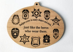 Wooden Ornaments Badge Ornament Laser Engraved First Responder Thin Blue Line Sheriff Badge Deputy Badge Trooper Badge Police badge Detective Badge