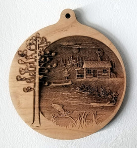 3D Wooden Ornaments Cabin Ornament wood ornament Lake cabin ornament laser engraved ornament