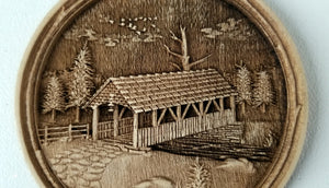 3D Wooden Ornament Covered Bridge Ornament wood ornament Laser cut ornament
