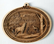 Load image into Gallery viewer, Timber wolves Ornament Wooden wolves ornament Laser Engraved