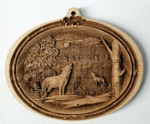 Timber wolves Ornament Wooden wolves ornament Laser Engraved