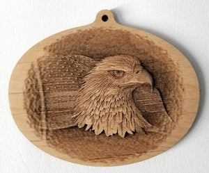 3D Wood Ornaments Eagle Ornament Flag Ornament wood ornament Laser Engraved