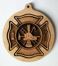Load image into Gallery viewer, 3D wood Ornaments Fire Department Ornament Laser Engraved FDNY Ornament FD Scramble ornament