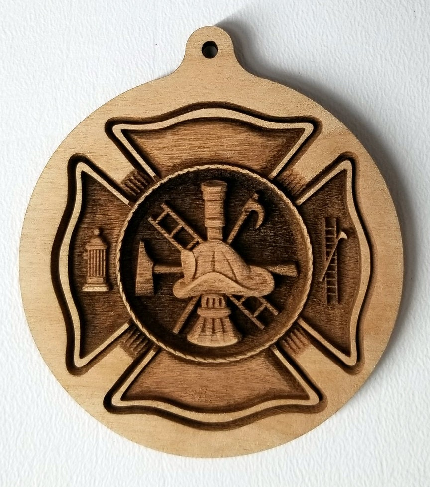 3D wood Ornaments Fire Department Ornament Laser Engraved FDNY Ornament FD Scramble ornament