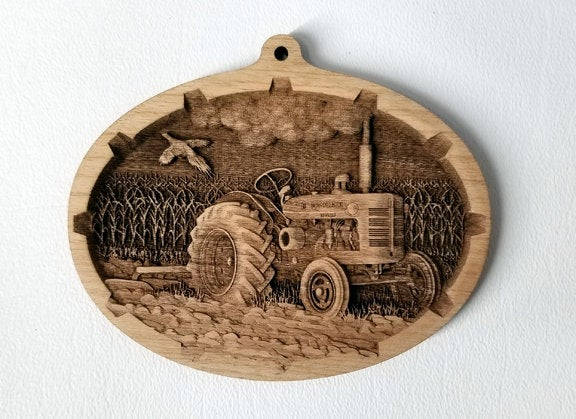 Tractor Laser Engraved Wood Ornament, 3D Wooden Ornament Laser Engraved Unfinished Wood