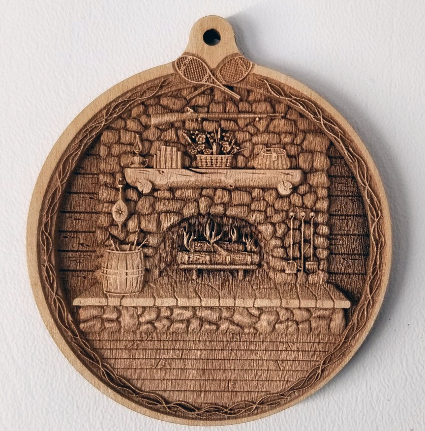 Fireplace Wooden Ornament Fireplace ornament Laser Engraved wood ornament